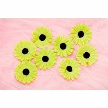 Feest decoratie bloemen lime voor klamboes 12 stuks