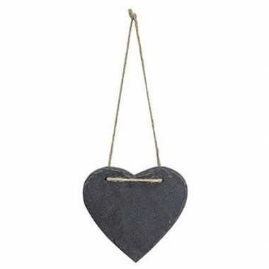 Feest decoratie hart 12 cm van leisteen
