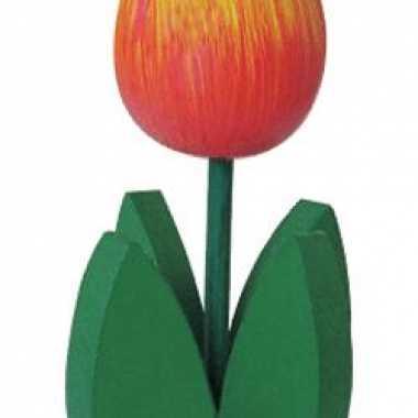 Decoratie houten oranje tulpen