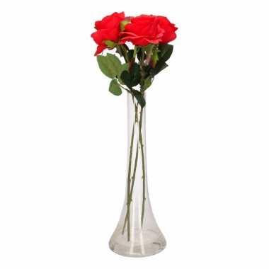 Feest decoratie kunstbloemen 3 rode rozen met vaas
