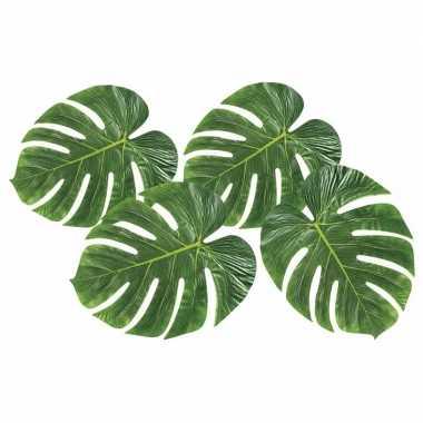 Feest decoratie tropische bladeren 4 stuks
