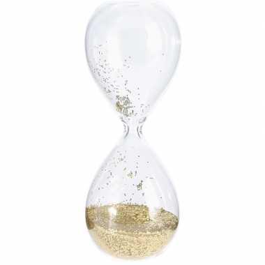 Decoratie zandloper grove gouden glitters 20 cm