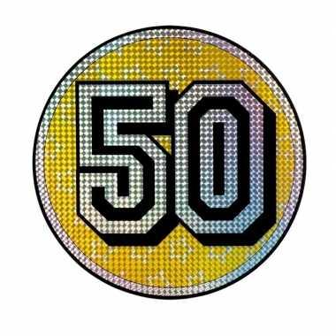 Feest decoratiebord 50 jaar holografisch
