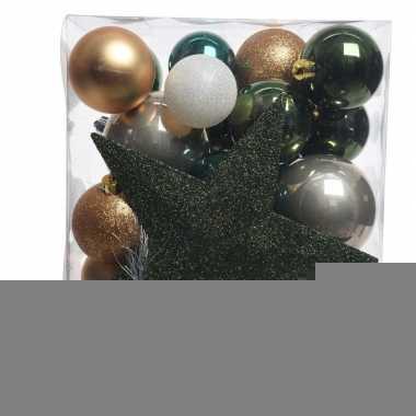 Dennengroen/goud/wit kerstballen pakket met piek 33 stuks