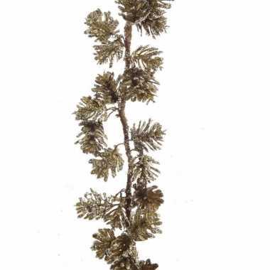Dennentak kunstplant 120 cm goud met dennenappels