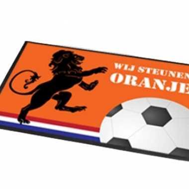 Feest deurmat wij steunen oranje 60x40 cm