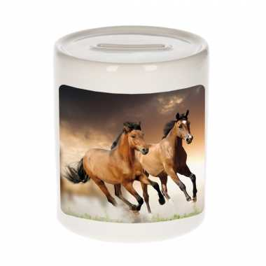 Dieren foto spaarpot bruin paard 9 cm - paarden spaarpotten jongens en meisjes