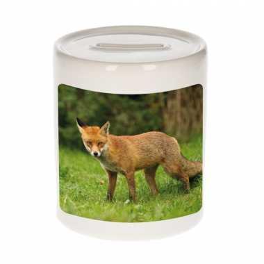 Dieren foto spaarpot bruine vos 9 cm - vossen spaarpotten jongens en meisjes