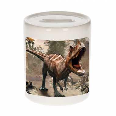 Dieren foto spaarpot carnotaurus dinosaurus 9 cm - dinosaurussen spaarpotten jongens en meisjes