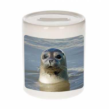Dieren foto spaarpot grijze zeehond 9 cm - zeehonden spaarpotten jongens en meisjes