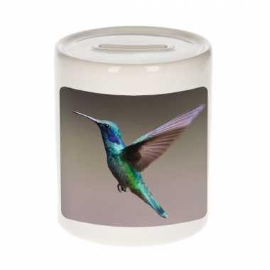 Dieren foto spaarpot kolibrie vogel vliegend 9 cm - vogels spaarpotten jongens en meisjes