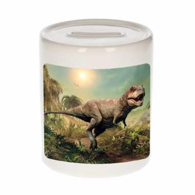 Dieren foto spaarpot stoere t-rex dinosaurus 9 cm - dinosaurussen spaarpotten jongens en meisjes