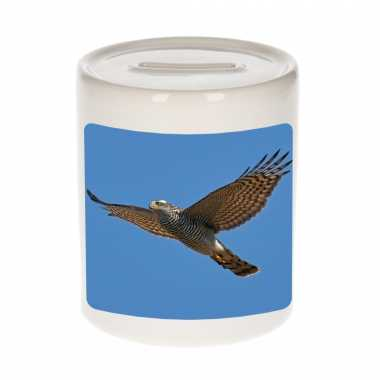 Dieren foto spaarpot vliegende havik roofvogel 9 cm - vogels spaarpotten jongens en meisjes