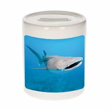 Dieren foto spaarpot walvishaai 9 cm - haaien spaarpotten jongens en meisjes
