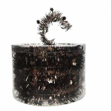 Donker bruine kerstversiering folie slinger met ster 700 cm