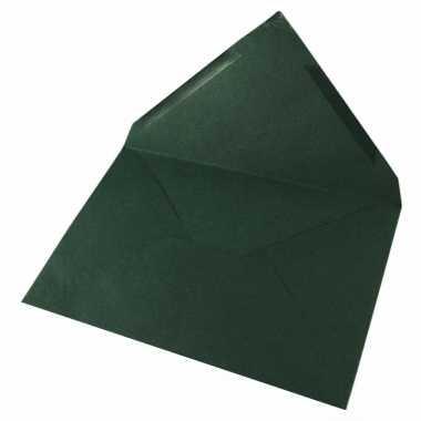 Feest donkergroene onbedrukte wenskaart enveloppen 5x