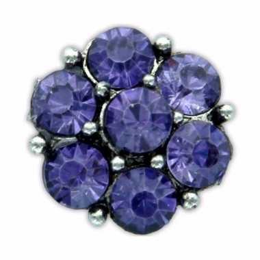 Feest drukknoop paarse steentjes voor chunk sieraad 1 8 cm