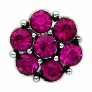 Feest drukknoop roze steentjes voor chunk sieraad 1 8 cm