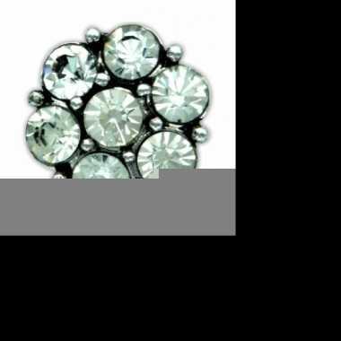 Feest drukknoop zilveren steentjes voor chunk sieraad 1 8 cm