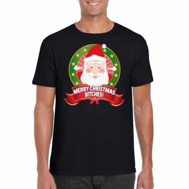 Feest foute kerst t-shirt merry christmas bitches voor heren 10125365