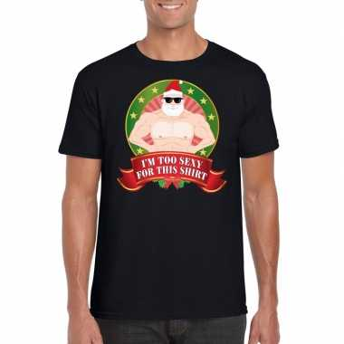 Feest foute kerstkleding t-shirt i m too sexy for this shirt voor heren 10125371