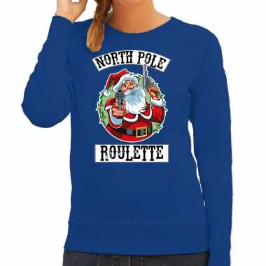 Foute kerstsweater / outfit northpole roulette blauw voor dames