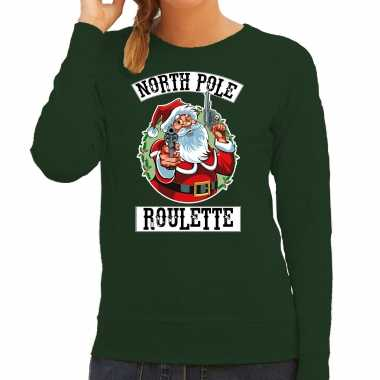 Foute kerstsweater / outfit northpole roulette groen voor dames