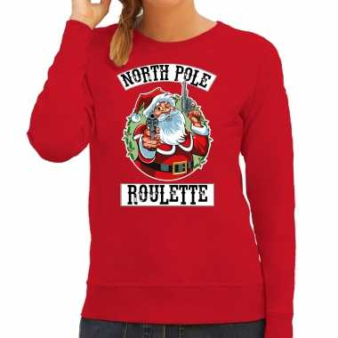 Foute kerstsweater / outfit northpole roulette rood voor dames
