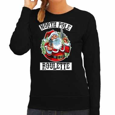 Foute kerstsweater / outfit northpole roulette zwart voor dames