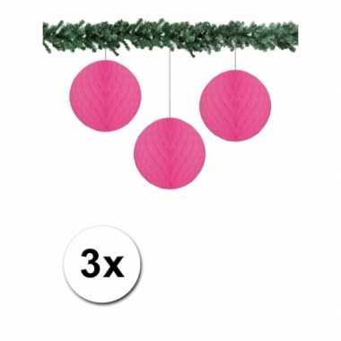 Feest fuchsia kerstversiering ballen van papier 10 cm 3 stuks