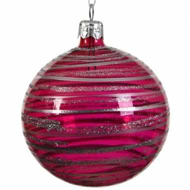 Fuchsia roze kerstversiering transparante kerstballen 8cm glas