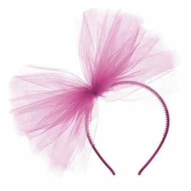 Feest fuchsia roze tule haarband voor dames