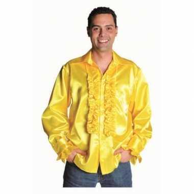 Feest geel heren overhemd met rouches