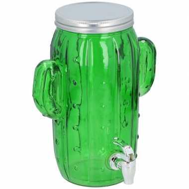 Feest glazen drank dispenser limonadetap cactus 3 9 liter