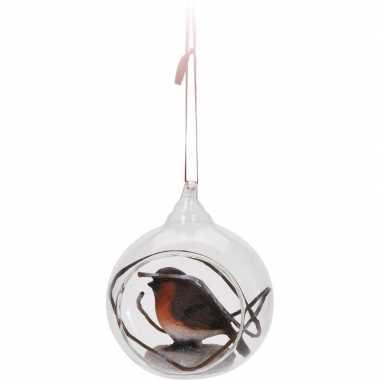 Feest glazen kerstbal 8 cm met roodborstje vogel