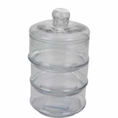 Glazen voorraadpot 3-laags 22cm