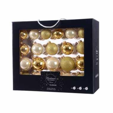 Goud/champagne kerstversiering kerstballen set 42 delig van glas