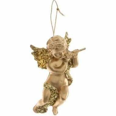 Gouden engel met dwarsfluit kerstversiering hangdecoratie 10 cm
