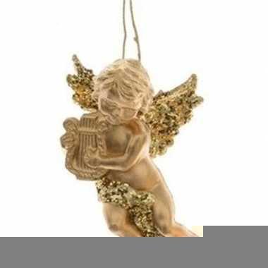 Gouden engel met harp kerstversiering hangdecoratie 10 cm