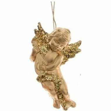 Gouden engel met lute kerstversiering hangdecoratie 10 cm