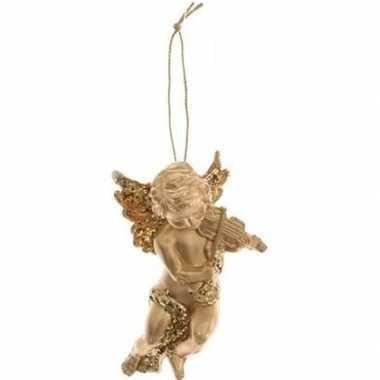 Gouden engel met viool kerstversiering hangdecoratie 10 cm