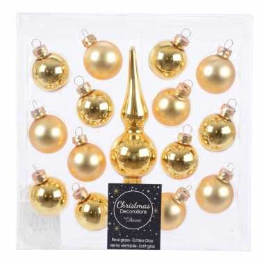 Gouden glazen kerstballen en piek voor mini kerstboom