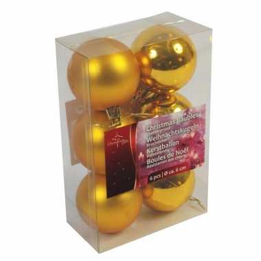 Gouden kerstballen kerstversiering van kunstof 6 stuks van 6 cm