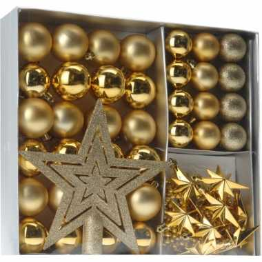 Gouden kerstboomversiering 45 delig