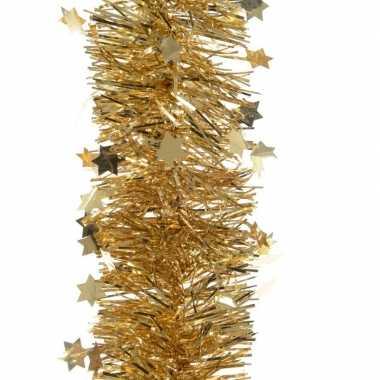 Gouden kerstversiering folie slinger met ster 270 cm