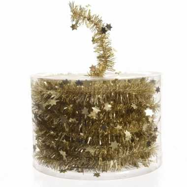 Gouden sterren lametta guirlande 700 cm