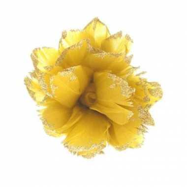 Feest goudgele glitter bloem ter decoratie