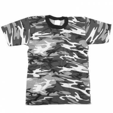 Feest grijs camouflage t-shirt korte mouw