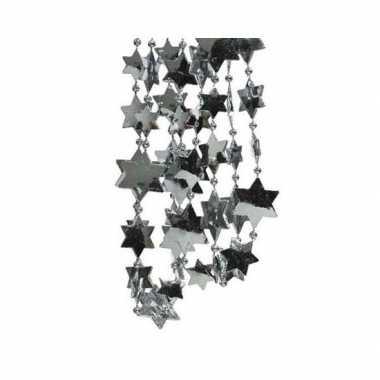 Grijsblauwe sterren kralenslinger kerstslinger 270 cm
