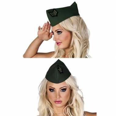 Feest groen soldaten hoedje voor dames